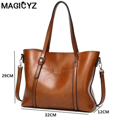 Women bag Oil wax Women's Leather Handbags Luxury Lady Hand Bags With Purse Pocket Women messenger bag Big Tote Sac Bolsos Mujer - Market Glad ™