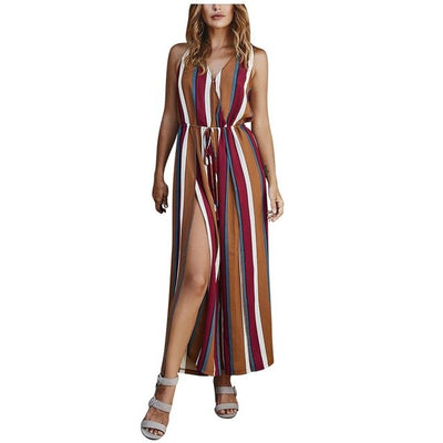 Coastal Grooves Black and Brown Striped Swim Cover-Up - Market Glad ™