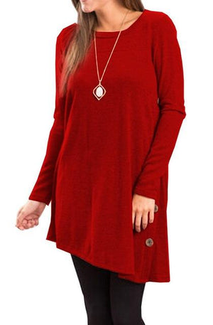 Long Sleeve Scoop Neck Button Side Tunic Dress