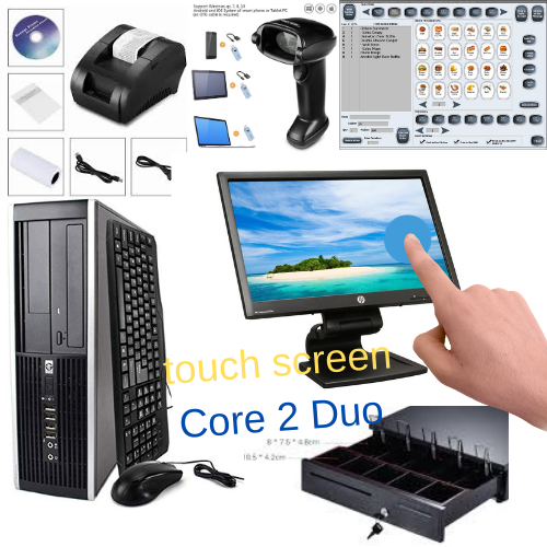 21.5 inches Touchscreen Monitor Intel Core 2 Duo Low price Full POS all-in-one Point of Sale System Combo Kit Retail Store HP