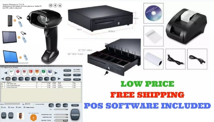 All in one Point of Sale POS system Includes Barcode Scanner Thermal Printer Cash