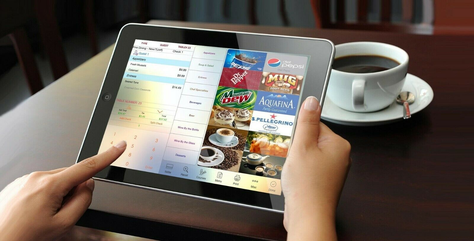 Network system, 1 x PC, 2 x Tablets POS system register Retail store Liquor Convenience Restaurant Bar Pizza Tablet