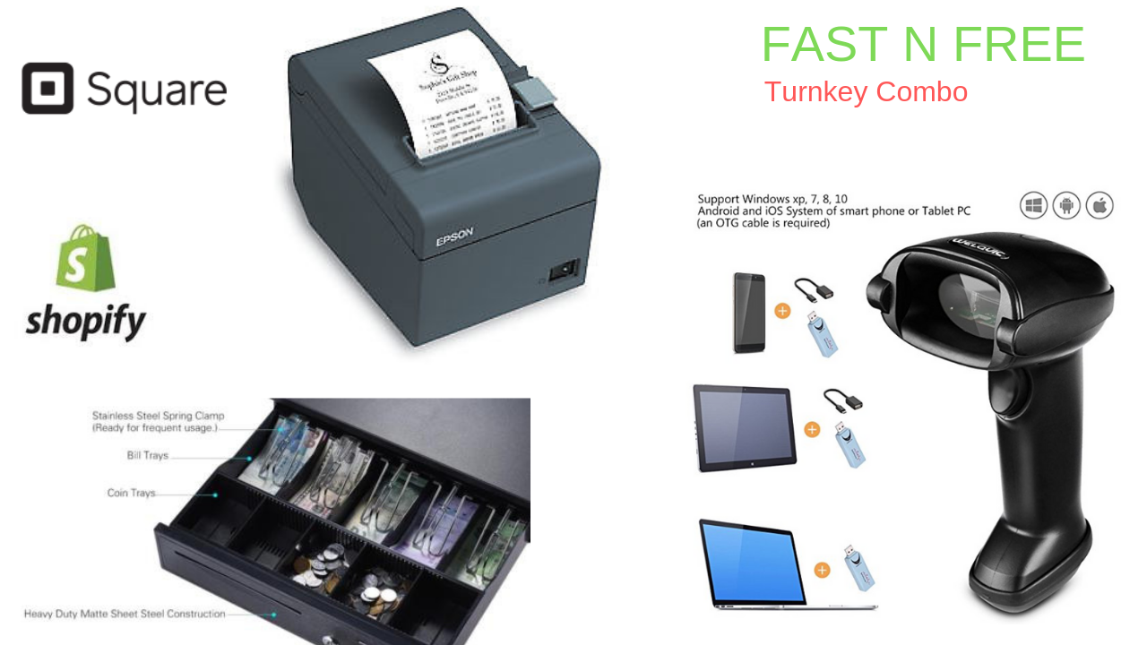 Square Shopify Point of Sale POS system Includes Barcode Scanner Thermal Printer Cash