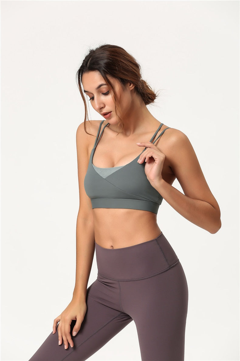 Cross Back Sport Bra - Green - OUTCAST DISTRICT