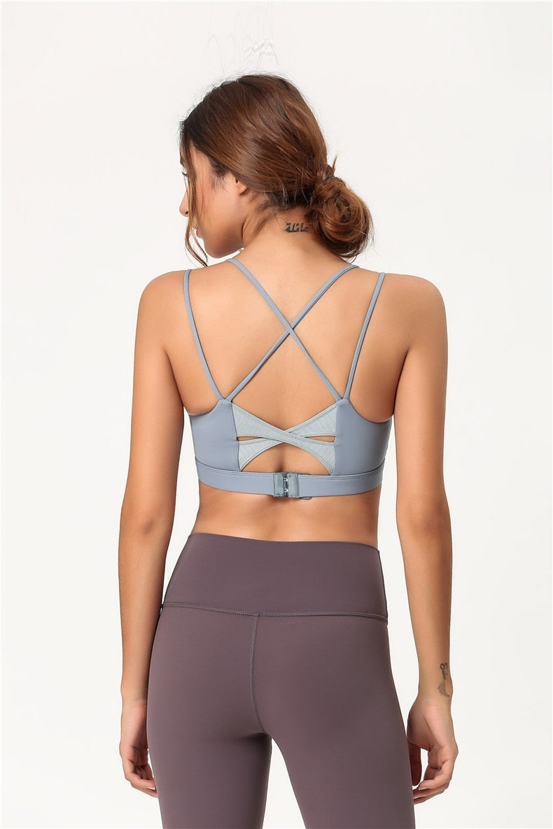 Cross Back Sport Bra - Blue - OUTCAST DISTRICT