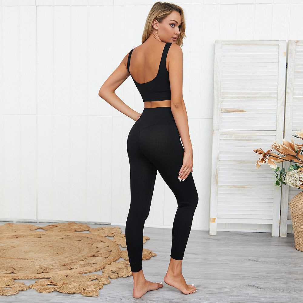 LUX Ribbed Yoga Set - Black - OUTCAST DISTRICT