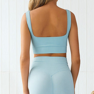 LUX Ribbed Yoga Set - Baby Blue - OUTCAST DISTRICT