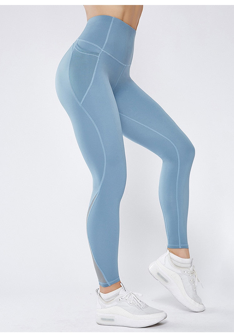Mesh High Waist Full Length Legging - Blue - OUTCAST DISTRICT