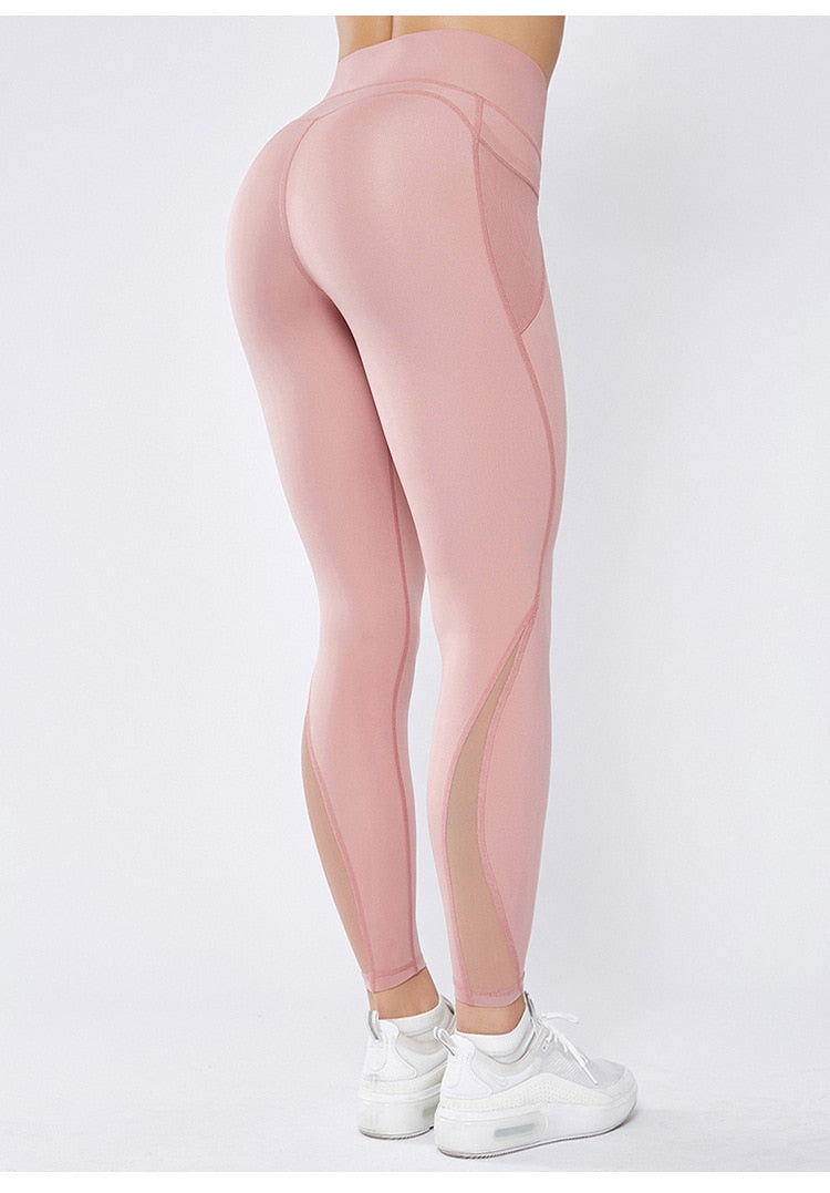 Mesh High Waist Full Length Legging - Pink - OUTCAST DISTRICT