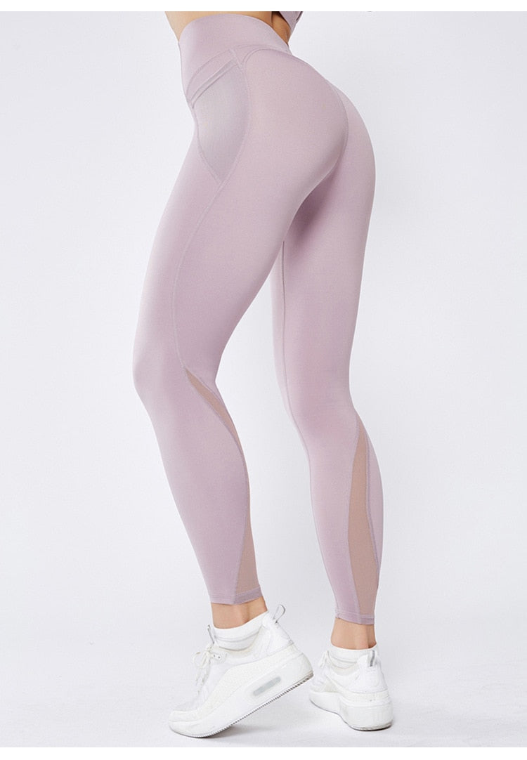 Mesh High Waist Full Length Legging - Light Purple - OUTCAST DISTRICT