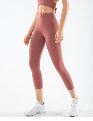 LUX C Series Capris High Waisted Legging - Brown - OUTCAST DISTRICT