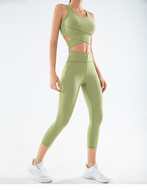 LUX C Series Capris High Waisted Legging - Green - OUTCAST DISTRICT