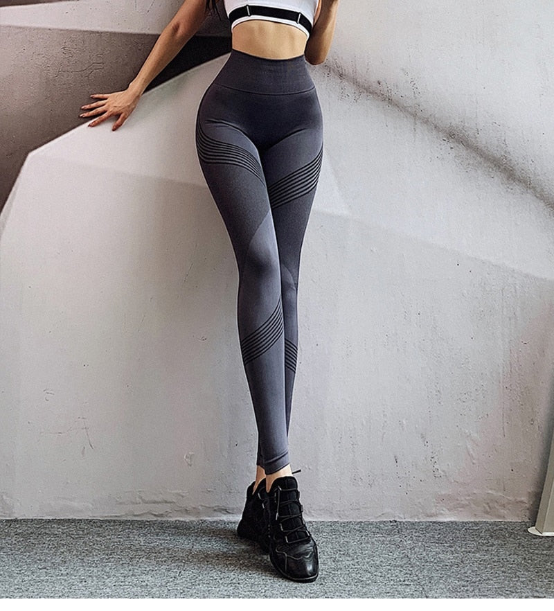 High Waist Cross Contrast Full Length Legging - Deep Gray - OUTCAST DISTRICT