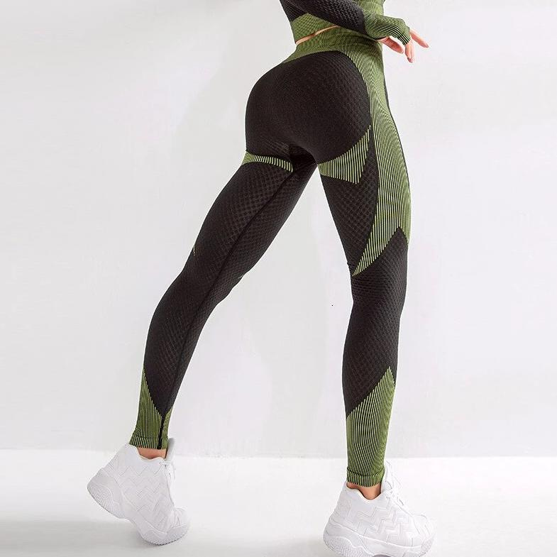 Color Block Seamless Training Legging - Dark Green - OUTCAST DISTRICT