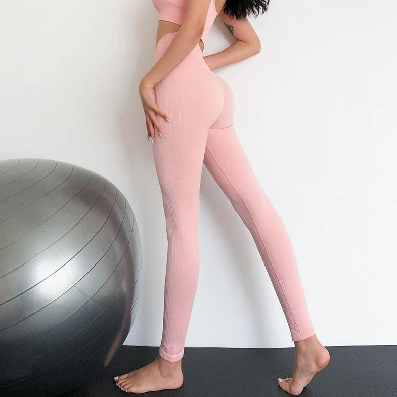Ribbed Sport Full Length Legging - Pink - OUTCAST DISTRICT