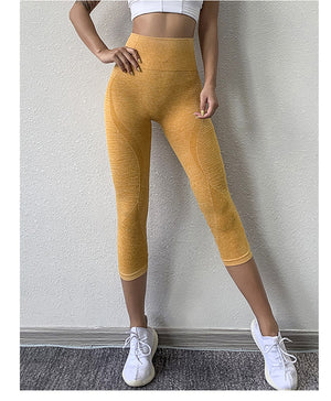 Power Seamless 3/4 Length Legging - Yellow - OUTCAST DISTRICT