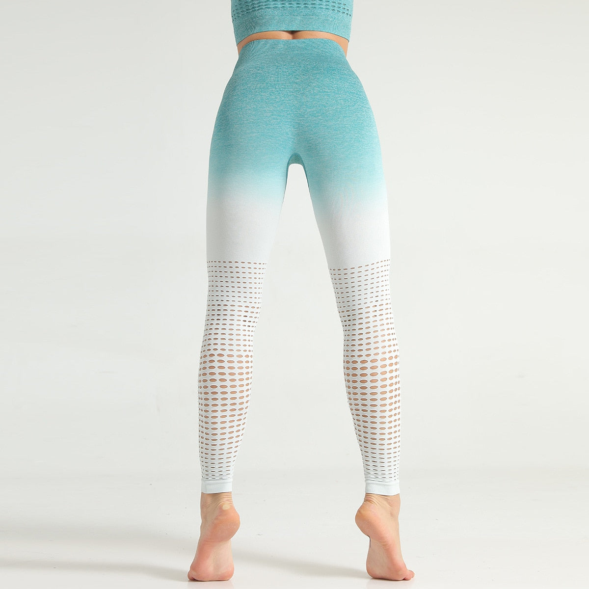 Seamless Ombre Full Length Legging - Green White Ombre - OUTCAST DISTRICT