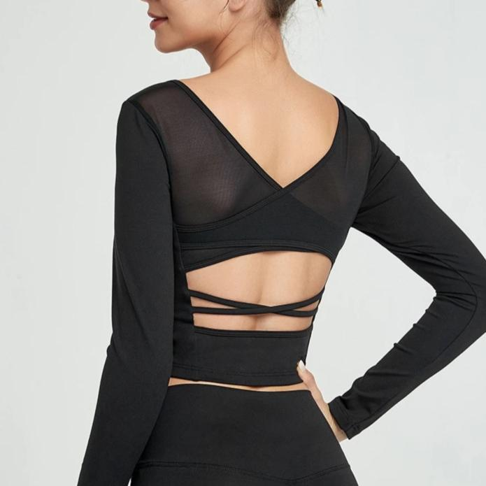 Mesh Back Crop Long Sleeve Shirt - Black - OUTCAST DISTRICT
