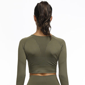 Seamless Change Long Sleeve Crop Top - Green - OUTCAST DISTRICT