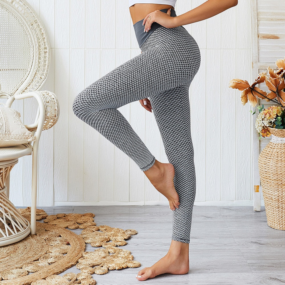 3D Mesh Seamless Knit Full Length Leggings - Gray - OUTCAST DISTRICT