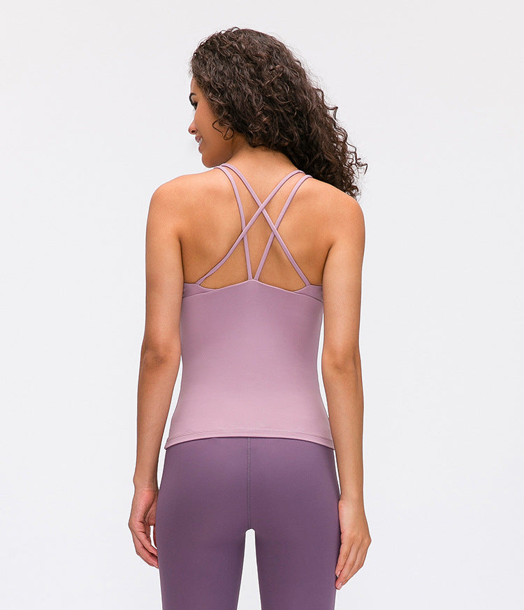 Athletic Cross Strap Tank Top - Pink - OUTCAST DISTRICT