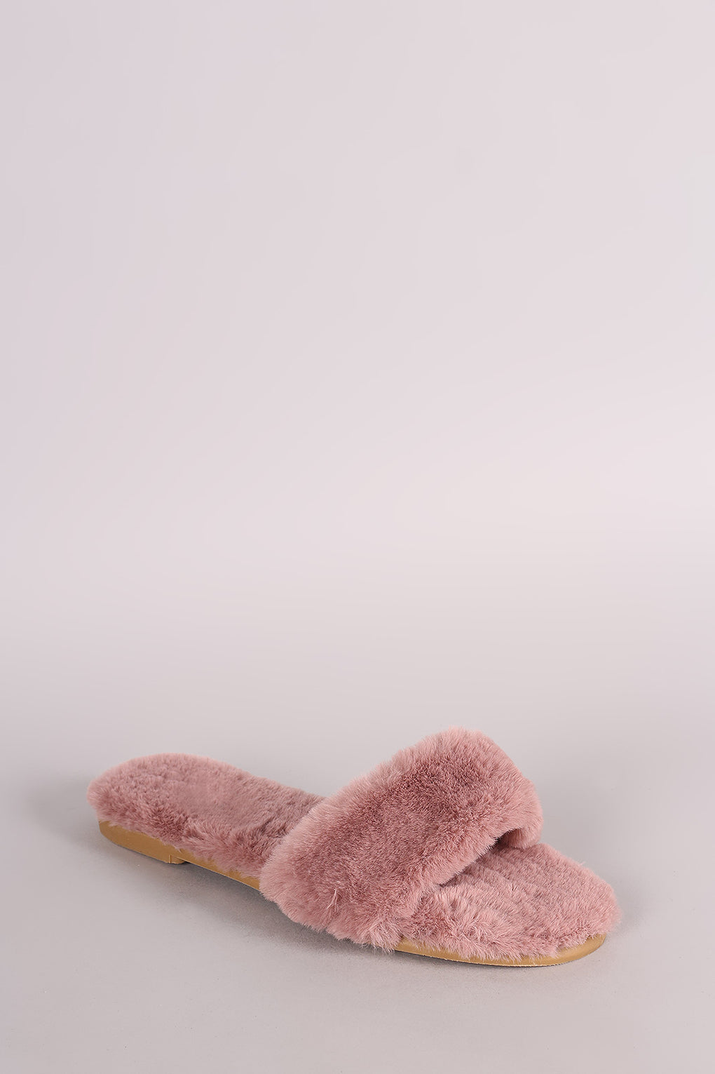 Bamboo Faux Fur Single Wide Band Slip-On Sandal - Danish Fashion & Living Online Store SALE