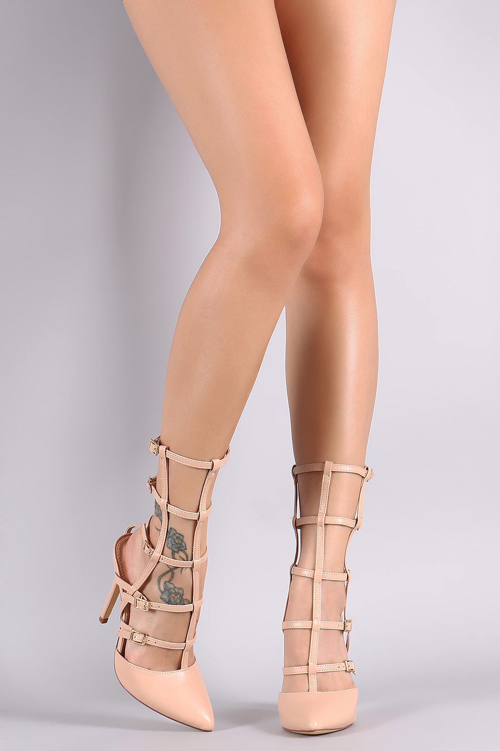 Liliana Pointy Toe Buckle Accent Caged Stiletto Pump - Danish Fashion & Living Online Store SALE