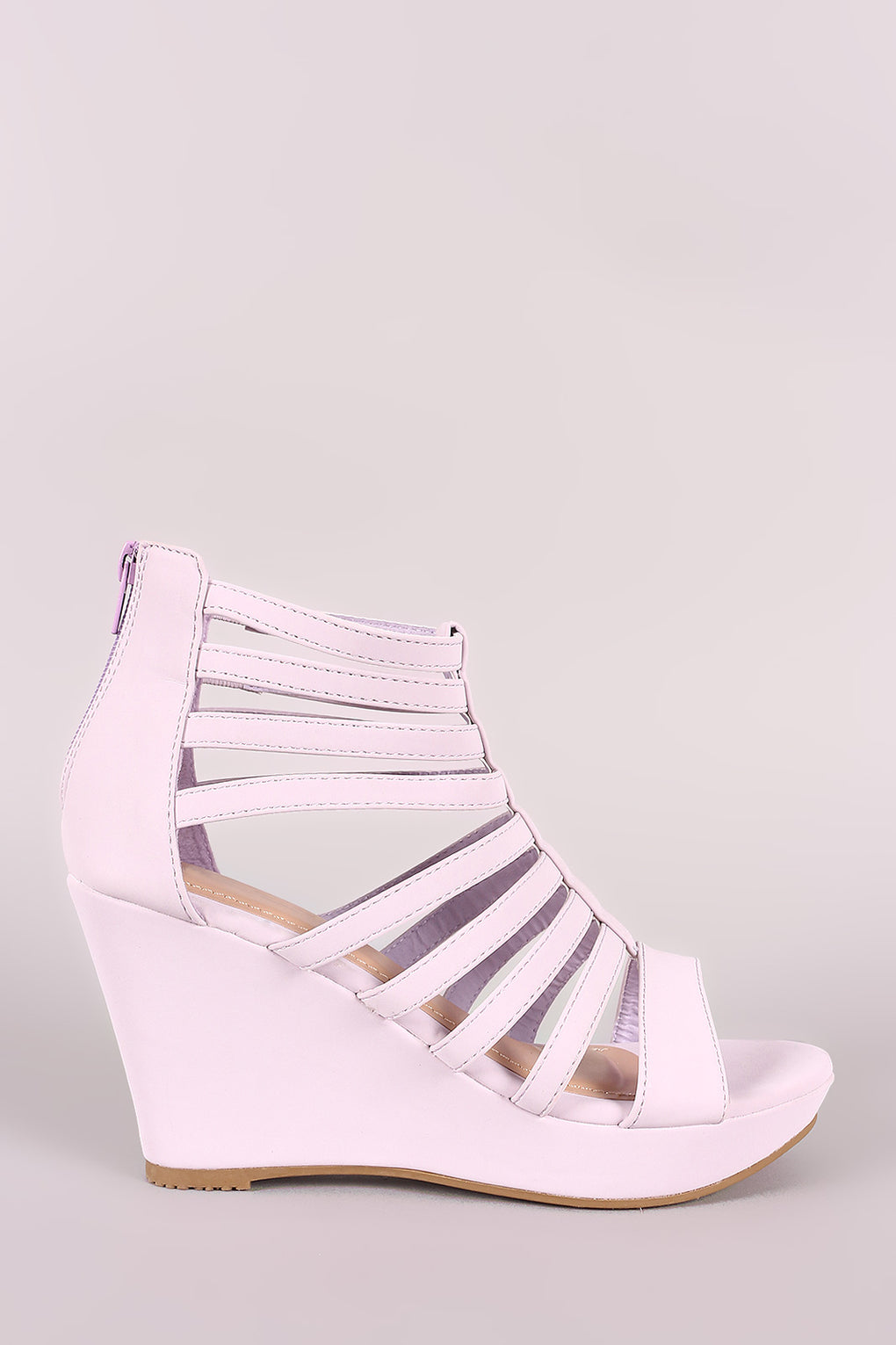 Nubuck Strappy Caged Platform Wedge - Danish Fashion & Living Online Store SALE