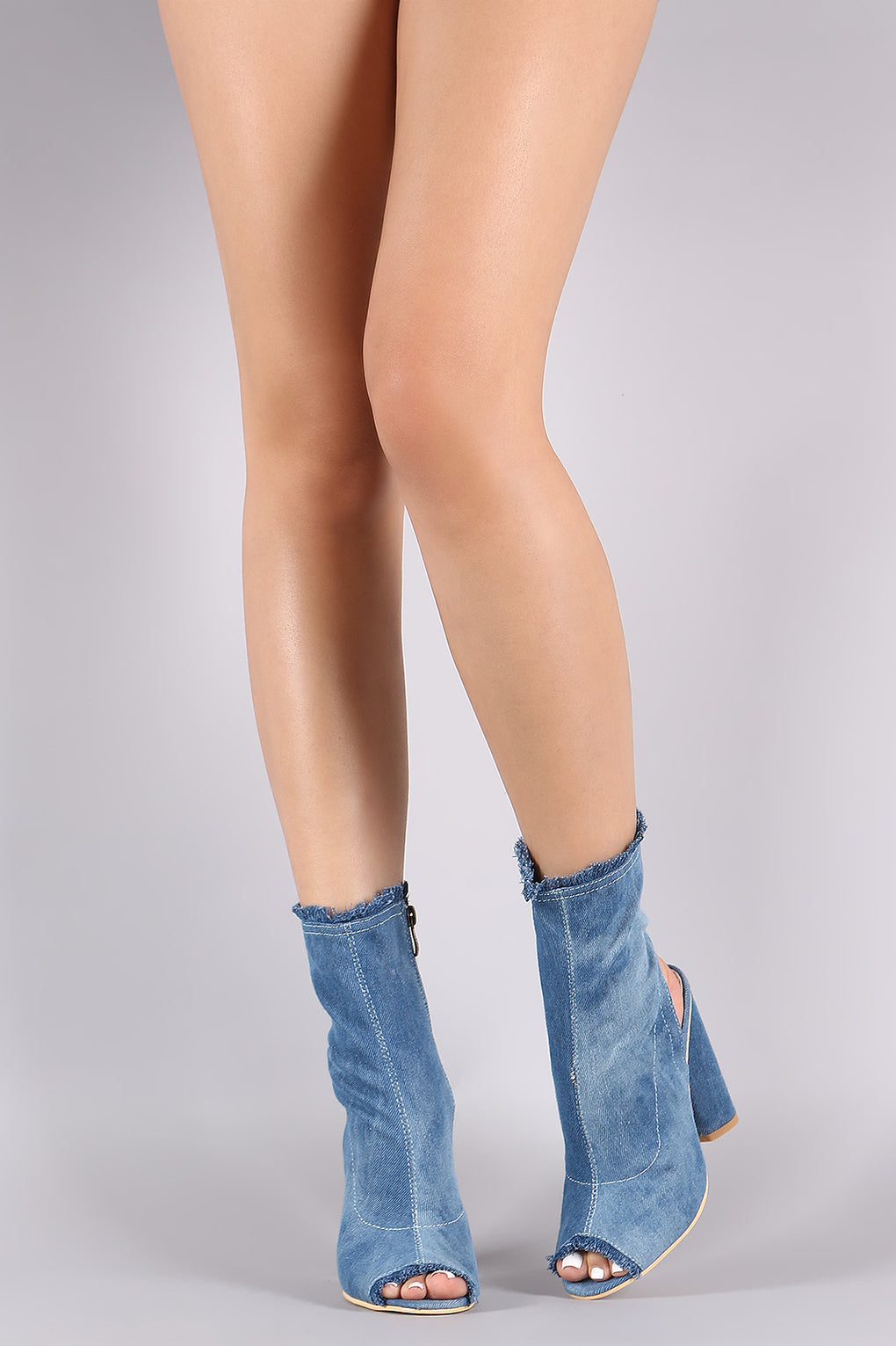 Frayed Denim Peep Toe Chunky Heeled Fitted Booties - Danish Fashion & Living Online Store SALE