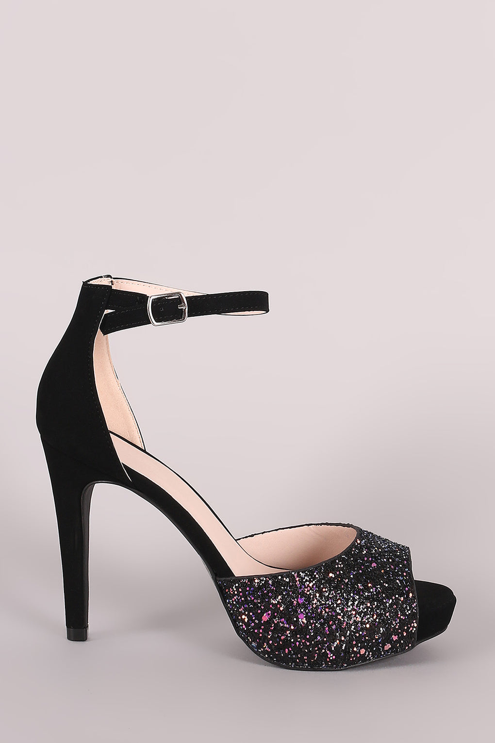 Qupid Iridescent Glitter Accent Ankle Strap Stiletto Platform Heel - Danish Fashion & Living Online Store SALE