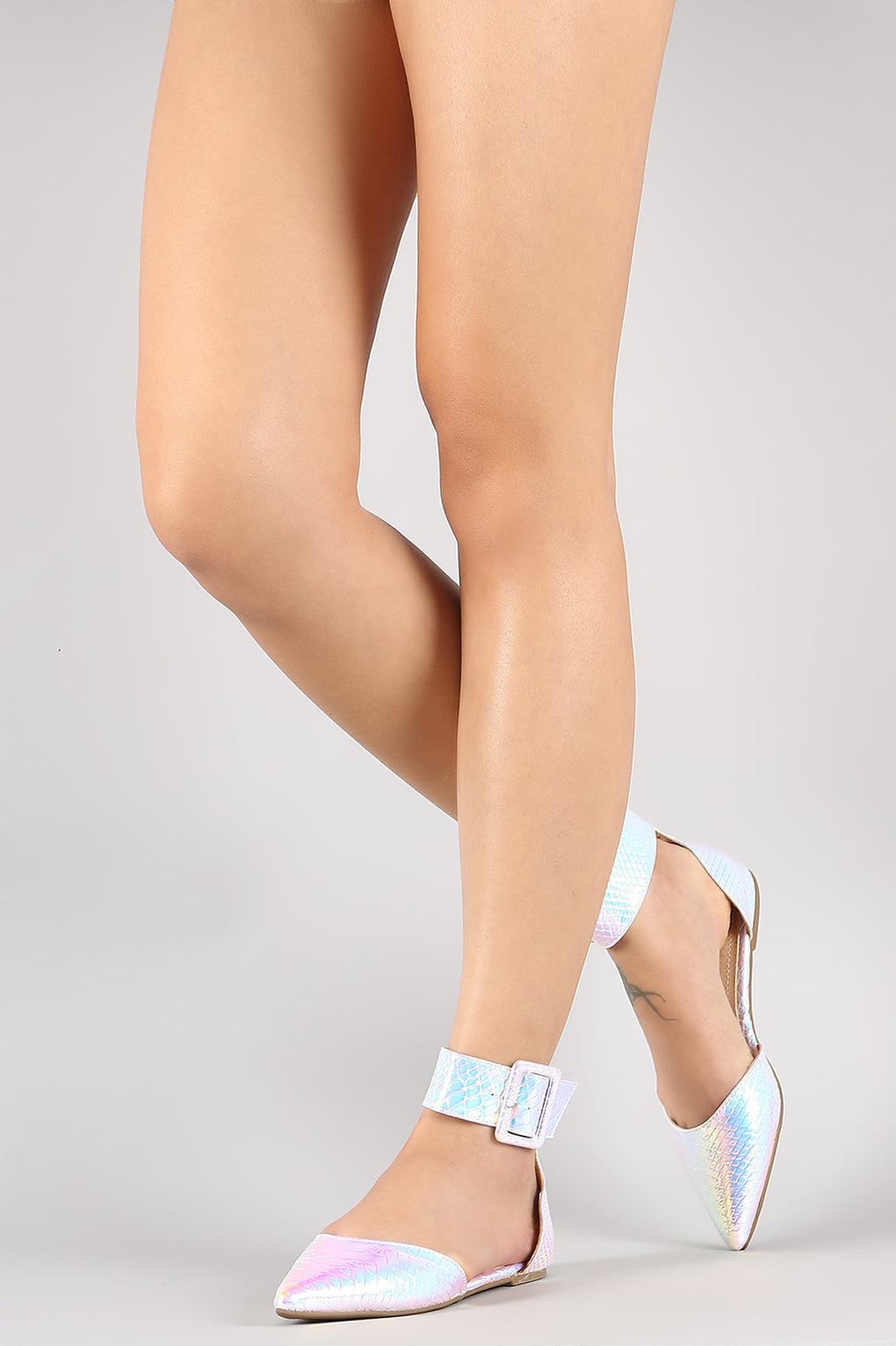 Liliana Holographic Snake Pointy Toe Buckled Ankle Cuff Flat - Danish Fashion & Living Online Store SALE