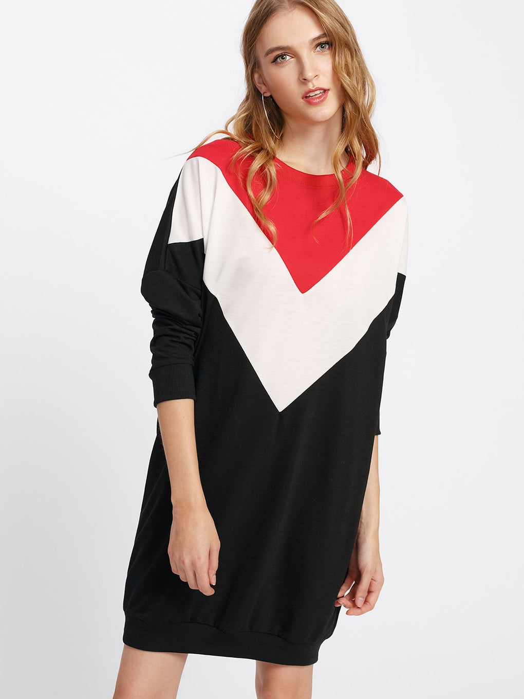 Cut And Sew Color Block Sweatshirt Dress - Danish Fashion & Living Online Store SALE