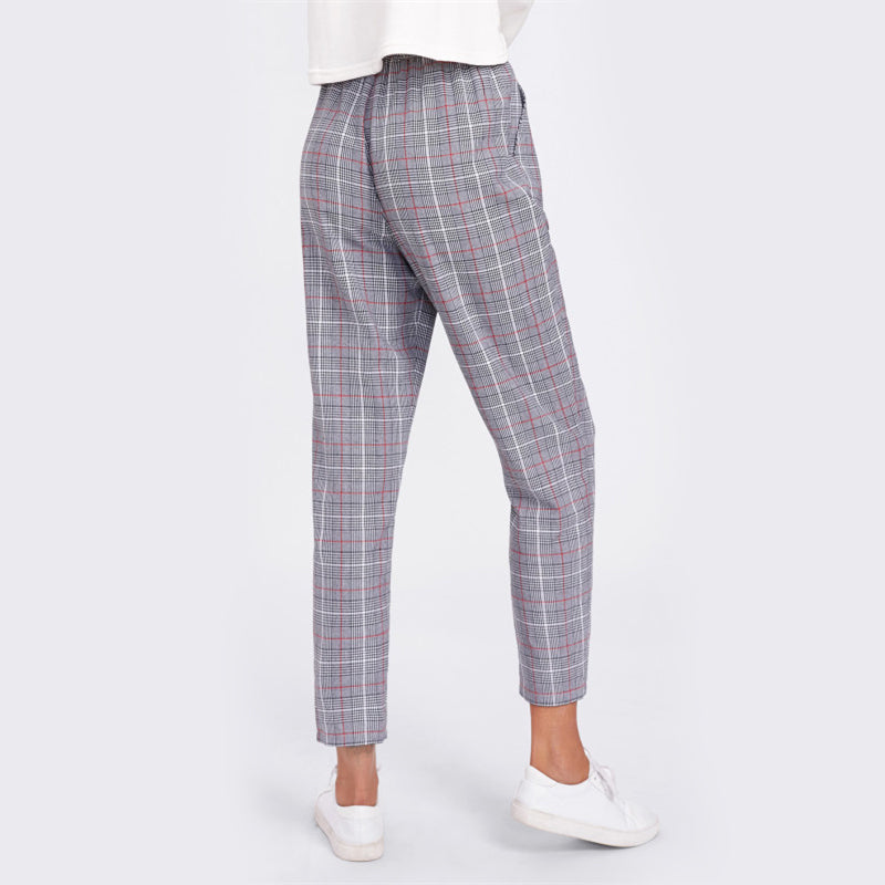 Drawstring Detail Plaid Peg Pants - Danish Fashion & Living Online Store SALE