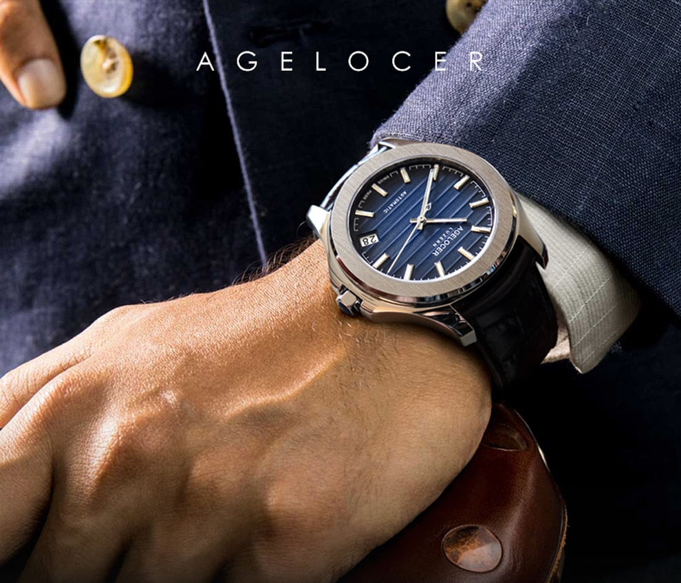 Agelocer Top Brand Luxury Watches Blue Dial Steel Automatic - Danish Fashion & Living Online Store SALE