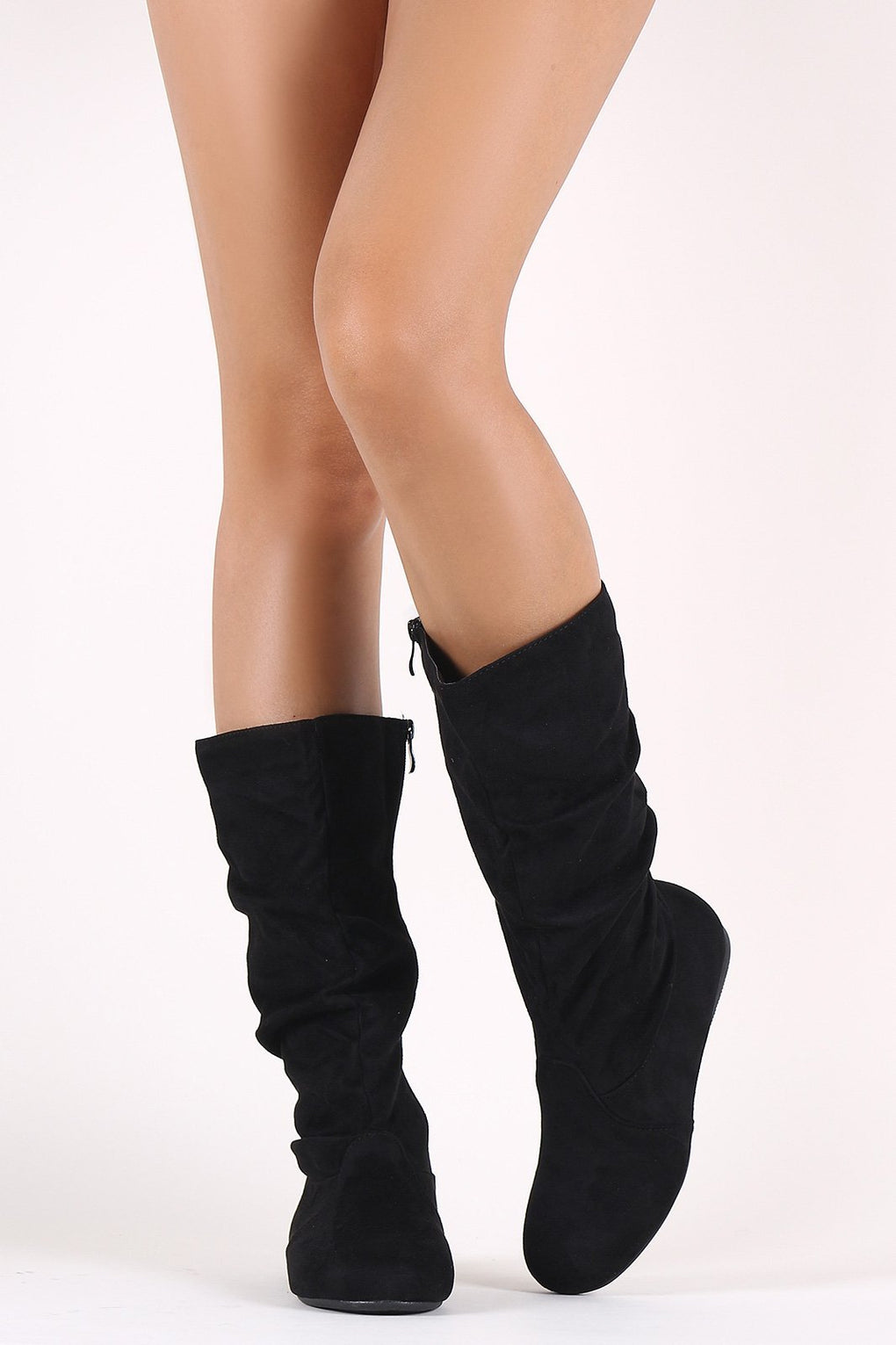 Suede Slouchy Round Toe Mid Calf Flat Boots - Danish Fashion & Living Online Store SALE