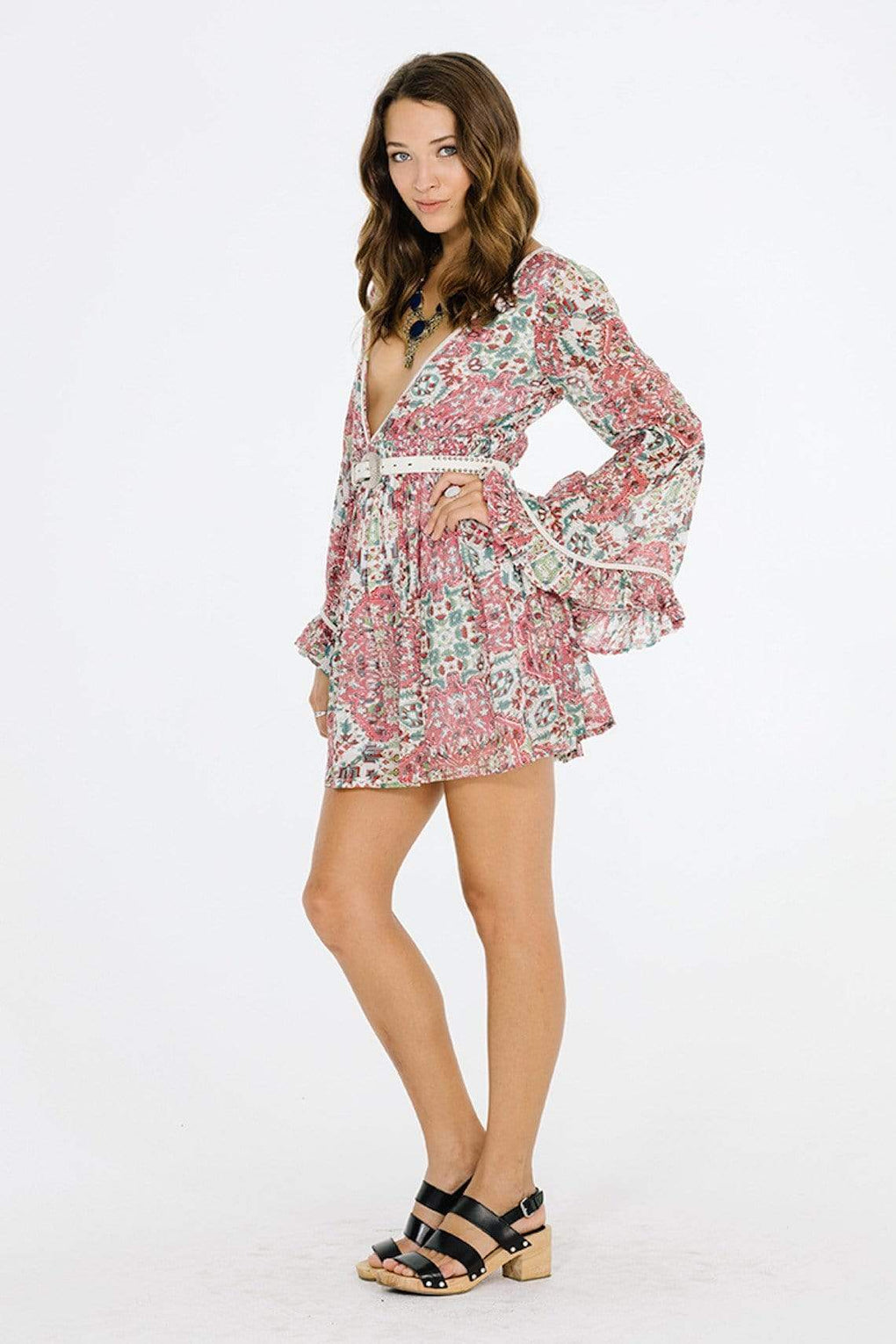 Sunset Rose Bell Sleeve Dress - Danish Fashion & Living Online Store SALE