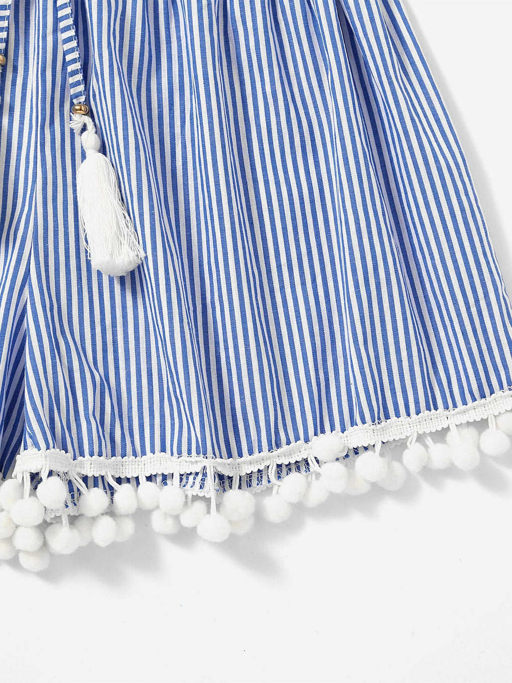 Vertical Striped Drawstring Waist Pompom Hem - Danish Fashion & Living Online Store SALE