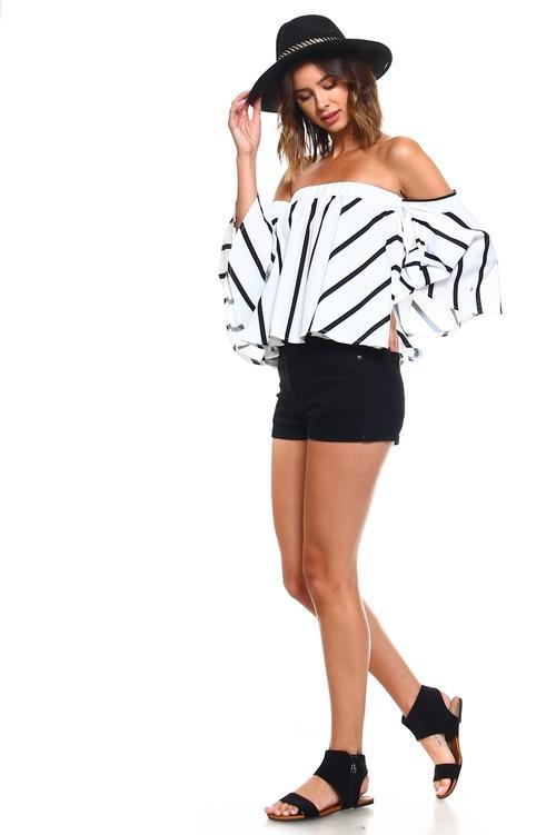 Women's Chic Vertical Striped Off Shoulder Blouse - Danish Fashion & Living Online Store SALE