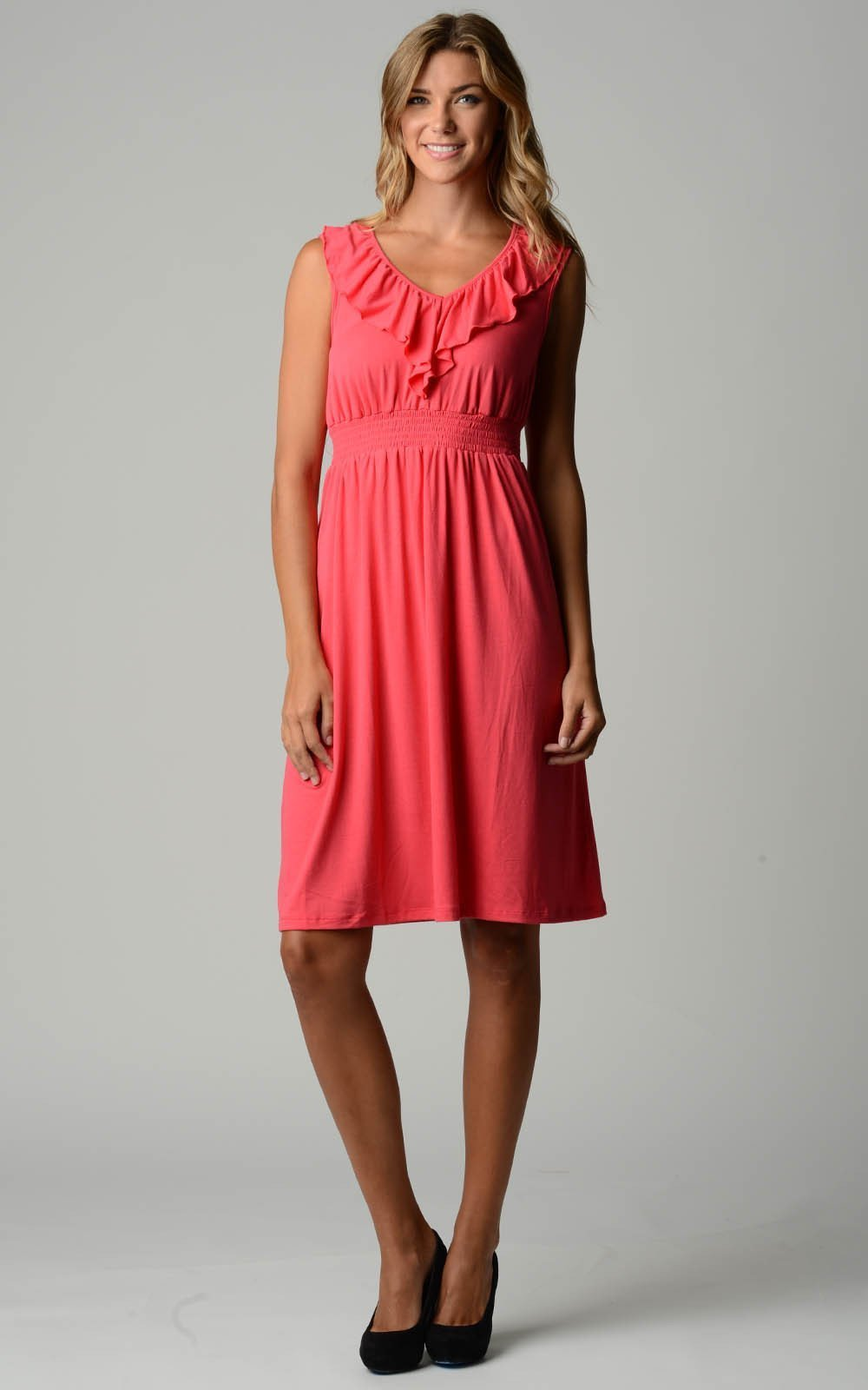 Women's Empire Waist Smocked Ruffle V-Neck Dress - Danish Fashion & Living Online Store SALE