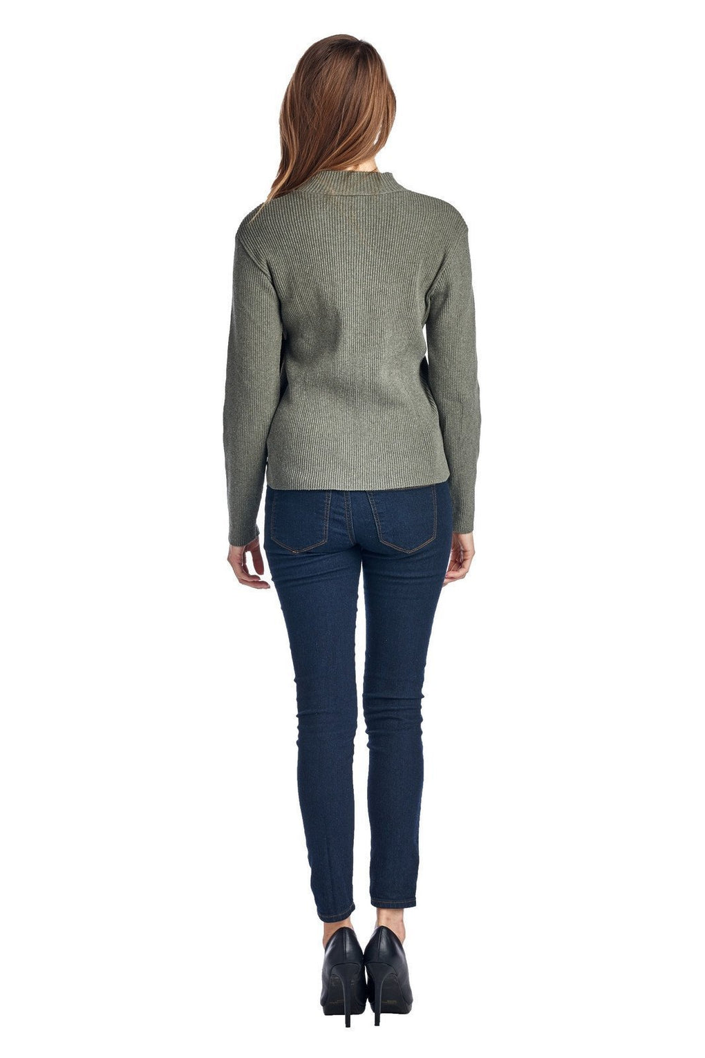 Women's High Neck Rib Knit Sweater - Danish Fashion & Living Online Store SALE