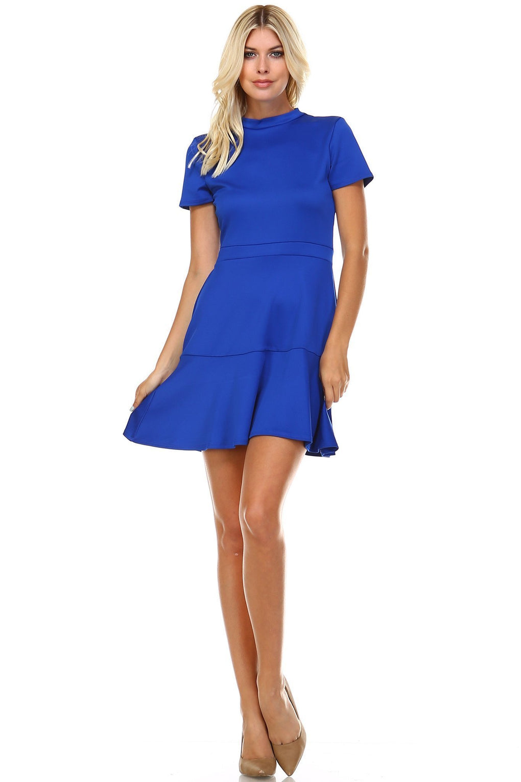 Women's High Neck Short Sleeve Fit and Flare Dress - Danish Fashion & Living Online Store SALE