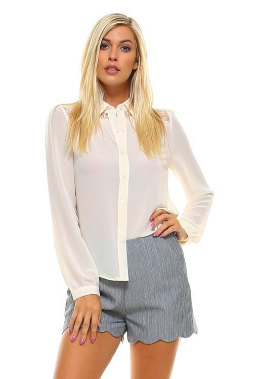 Women's Lace Button Down Blouse - Danish Fashion & Living Online Store SALE