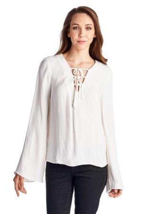 Women's Lace-Up Bell-Sleeve Top - Danish Fashion & Living Online Store SALE