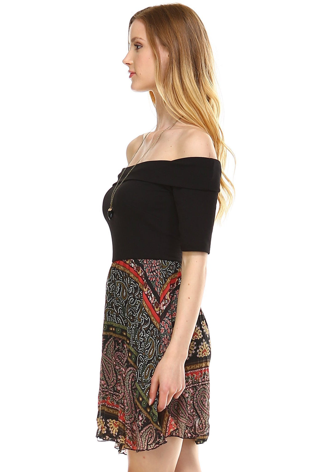 Women's Printed Off Shoulder A-Line Dress - Danish Fashion & Living Online Store SALE