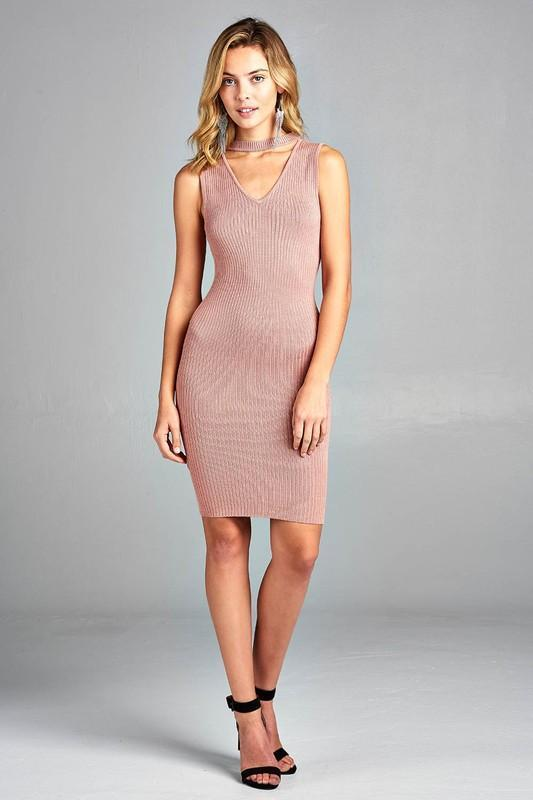 Women's Sleeveless V-Neck Choker Sweater Dress - Danish Fashion & Living Online Store SALE