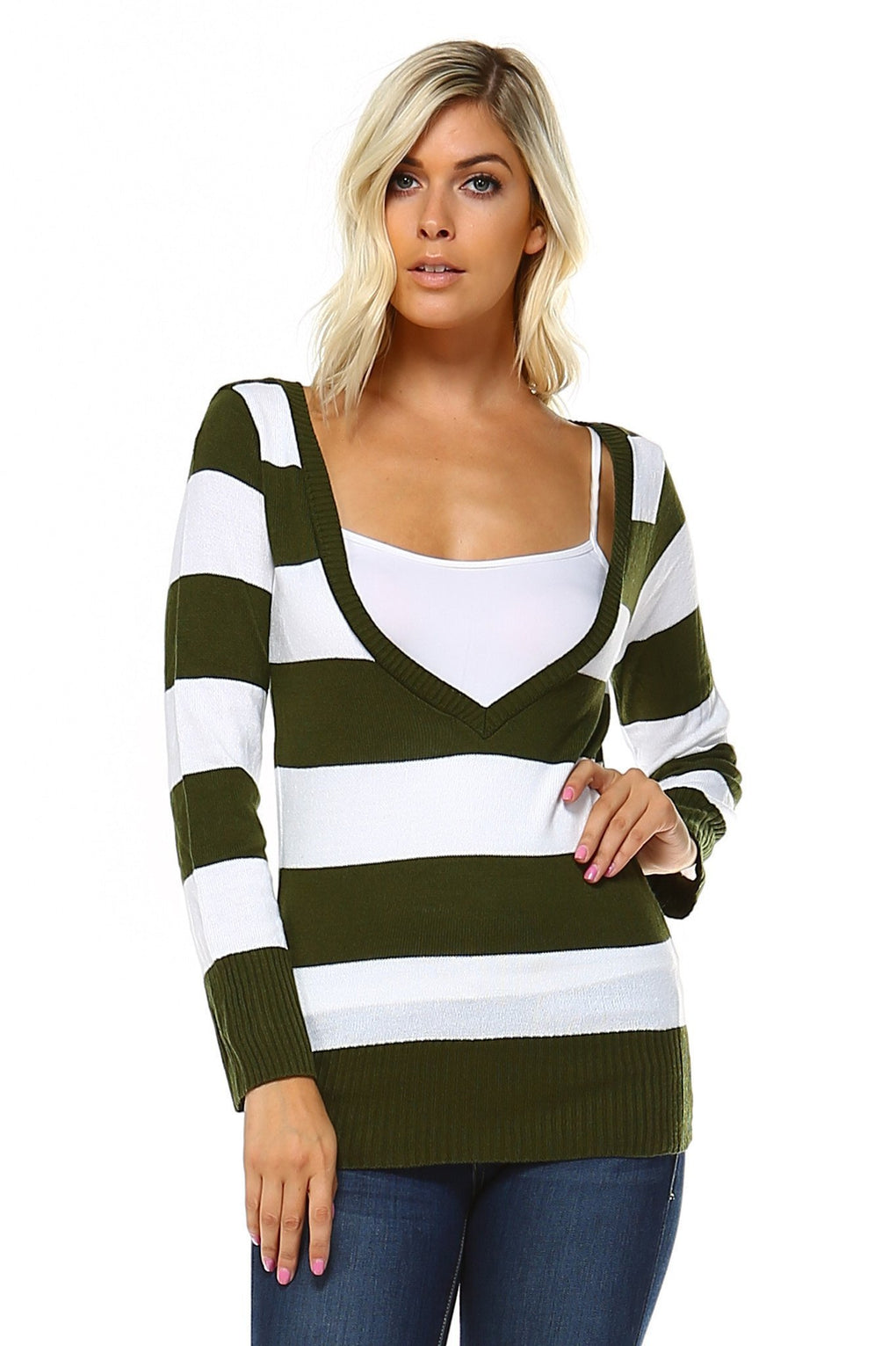 Women's V-Neck Stripe Sweater - Danish Fashion & Living Online Store SALE