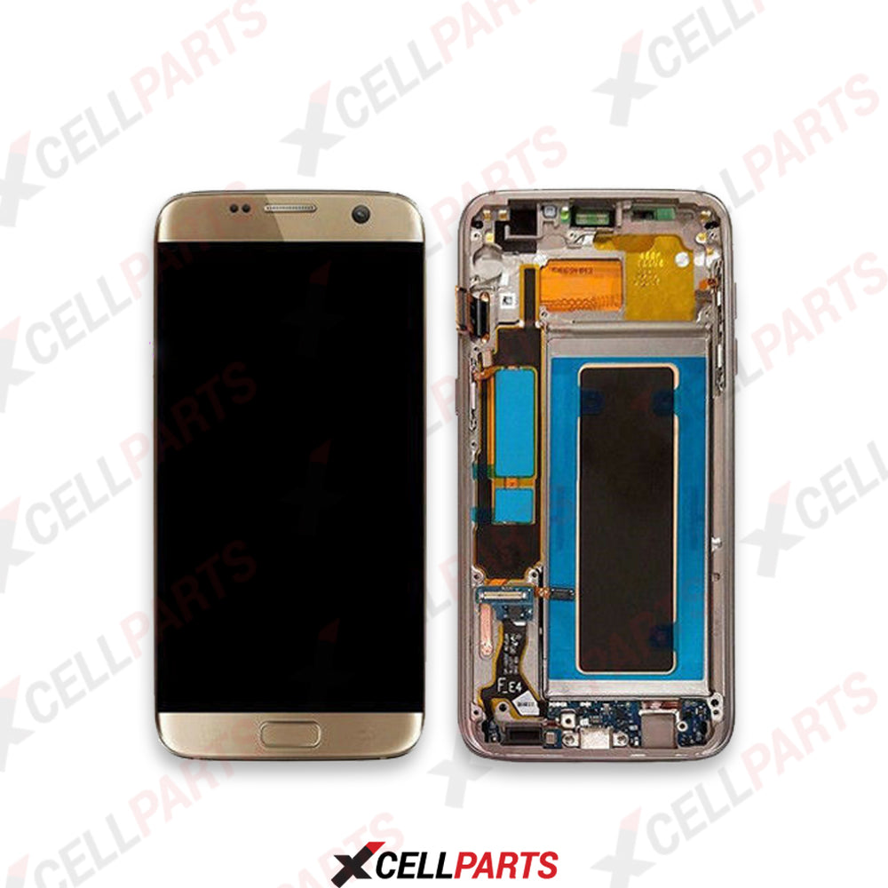 LCD Screen Touch Digitizer With Frame For Samsung Galaxy S7 Edge (G935) (Gold)