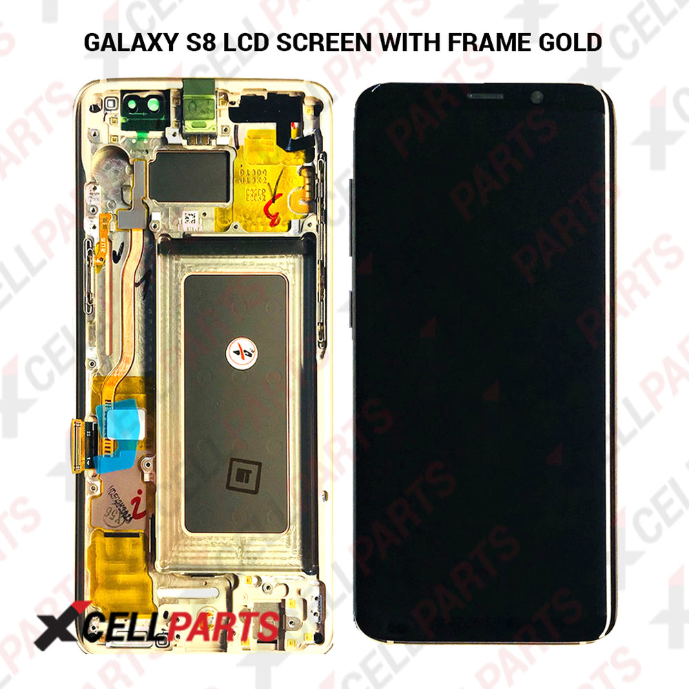 LCD Assembly With Frame For Samsung Galaxy S8 (Premium) (Gold Frame)