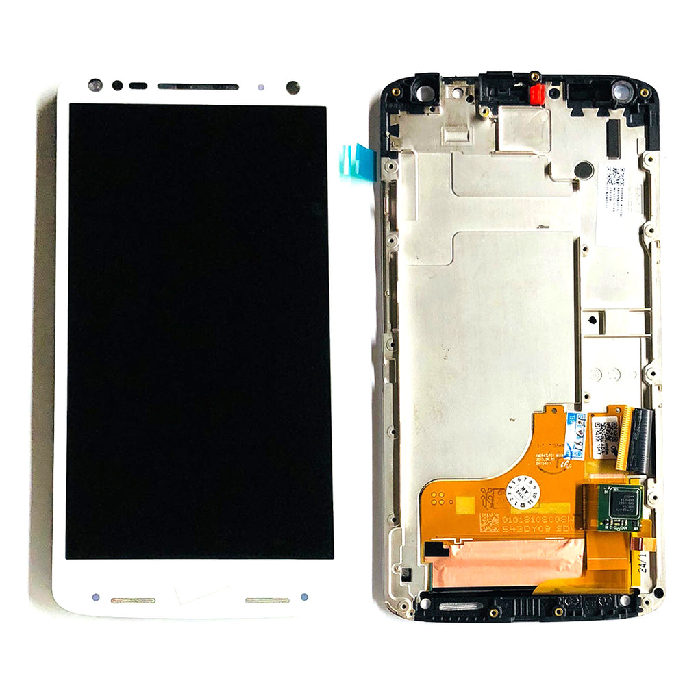 LCD Screen Touch Digitizer With Frame For Motorola Turbo 2 (XT1580) (White)