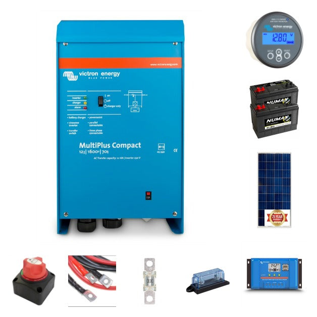 Complete off-grid kit 1.6 kVA Victron, 2x105 ah leisure battery 175 watt solar panels with Victron controller